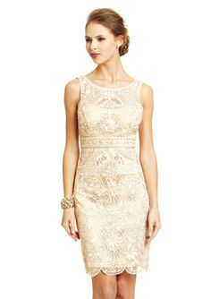 SUE WONG Lace Overlay Illusion Neck Dress Sleeveless dress Mesh illusion top and V-neck Cutout upper back Floral-embroidered lace overlay with swirled trim and embellishment Banded border at empire waist Hidden side zip closure Lined