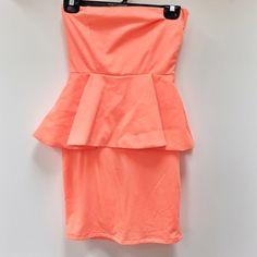 Zara   neon peplum dress Size small . Strapless peplum dress. Neon coral. No trades. Zara Dresses