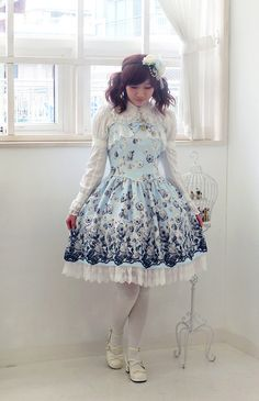 Poetry Blue// Lolita JSK Made to Order/ Lolita Jumper Skirt