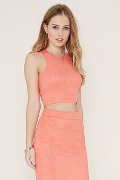 Faux Suede Crop Top   Forever 21 - 2000170448