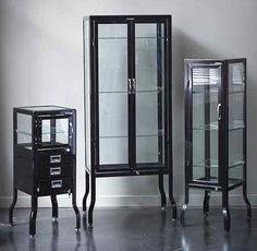 Doctors Cabinets ~ I would LOVE one of these in an all-white bathroom. I prefer the stainless, but black might look nice too.