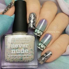 Nude? - never! Wearing some black lace over piCture pOlish Never Nude. I also used piCture pOlish Nude, Tiffany and Wisteria for gradient. Thank you Jules @picturepolish :))