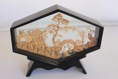 Oriental Cork Sculpture  Pagoda Trees & Crane  by TwoCatsVintage, $14.00