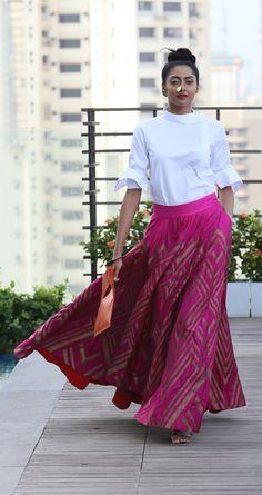 payalkhandwala - SS/2016 - Cotton Shirt and Brocade Skirt