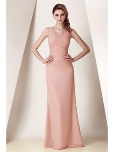 Ruched Sheath/Column V-Neck Long Bridesmaid Dress