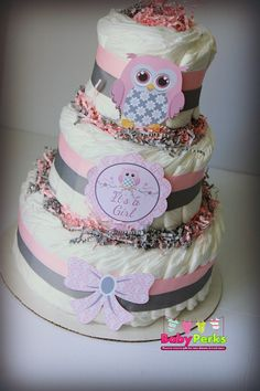 Pink and Grey Baby Shower  . Baby Shower Diaper Cake, Pink and Chevron Diaper cake , baby Shower decorations - http://www.babyshower-decorations.com/pink-and-grey-baby-shower-baby-shower-diaper-cake-pink-and-chevron-diaper-cake-baby-shower-decorations-2.html