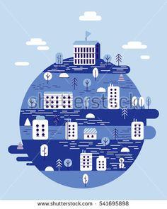 Vector landscape colorful  illustration on blue background #vector #illustration #flat #design #art #shop #store #cafe #cartoon #shutterstoke #creativemarket