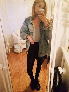 randy Melville black skirt, American Apparel bodysuit (tank), Brandy jean jacket, NS choker, Doc Martens