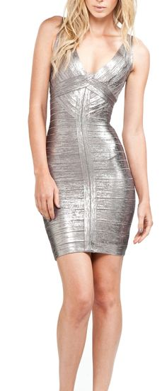 new years party dress right hur:   Herve Leger - Mettalic Mini