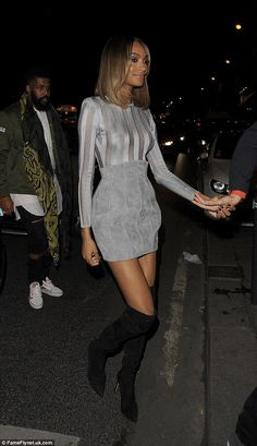 Lovely and leggy: Jourdan Dunn made the most of her endless legs in a suede dress upon arriving at the Balmain bash on Thursday evening in Paris, France