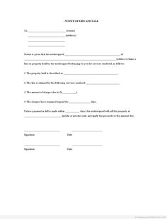 Printable Sample notice of lien and sale Form