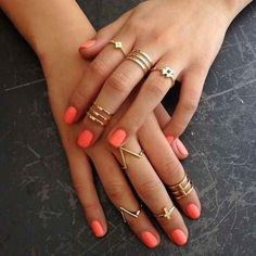 Wear all gold. | The Art Of Wearing Adorable Tiny Rings