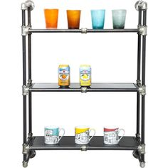 Wall Shelf Detour 91cm - KARE Design This wall shelf has areal industrial look. Made of steel and glass to combine just two materials to a real stylish shelf for your wall. It looks like pipes with a board. #kare #karedesign #menfurniture #industrial #steel #urban #men #interior #rough #shelf #wallshelf
