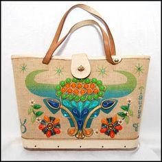 Vintage Enid Collins taurus zodiac purse; Four and Twenty