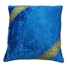 "Free Shipping Handmade Velvet Cushion Decorative Blue Cushion Cover Indian Art Velvet Patchwork Couch Pillow Case 18"" - PL9519"
