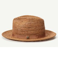 Point Loma Camel Straw Wide Brim Fedora hat front view