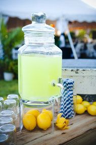 Jekyll Island Wedding at the Beachview Club. Cocktail hour lemonade stand for guests.
