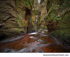 Devil's Pulpit, Gartness, Scotland. The actual colour of the water is a reddish brown /rusty. And this is the real original picture.