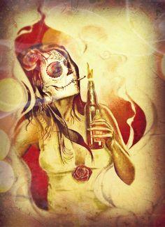 Dia de los muertos by Hudu85.deviantart.com on @deviantART Dead Images, Day Of The Dead Skull, Santa Muerte, Sugar Skulls, Spice, Tattoo Ideas, Addiction, Skulls, One Day