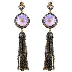 Onyx Carved Dangle Earrings 14k Gold 925 Silver Pave Diamond Labradorite Jewelry #raj_jewels