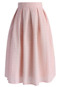 Grids and Pleats Midi Skirt in Pink - Skirt - Bottoms - Retro, Indie and Unique Fashion