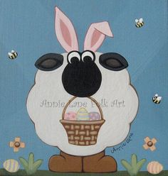 IDENTITY THEFT - Whimsical Easter Bunny Sheep Painting on Wood.  Just in time for Easter!  @ https://www.etsy.com/shop/AnnieLane