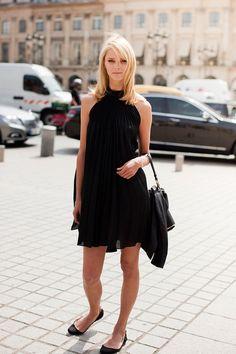 Halter dress with flats. #blackout