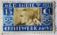 NETHERLANDS-CIRCA 1933: Dutch postage stamp issued in 1933 for the ' organisation for young men' during the financial depression.