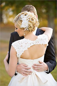 Elegant fall wedding bride bridal hairpiece hair piece lace wedding dress bride and groom pose ©Purrington Photography www.PurringtonPhotography.com