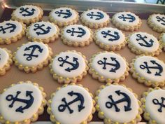 Nautical anchor cookies in navy yellow and white. Sweetly Done by Candi Nautical Cake, Nautical Party, Nautical Anchor, Best Baby Shower Gifts, Baby Boy Shower, Anchor Cookies, Summer Cookies, Girl Baby Shower Decorations, Baby Shower Cookies