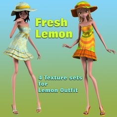 Fresh Lemon for STAR Lemon Outfit - $2.50 : Fantasies Realm Market!, Quality and affordability!   It contains  - 4 material options for dress, hat and flip-flops.   --------------  System Requirements and Needed Products:  DAZ Studio 4.7+ Star Lemon Outfit by Karth