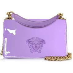 Versace Designer Handbags Palazzo Lilac Patent Leather Shoulder Bag ($2,405) ❤ liked on Polyvore featuring bags, handbags, shoulder bags, versace, lilac, shoulder handbags, hand bags, shoulder bag purse, man shoulder bag and purple purse