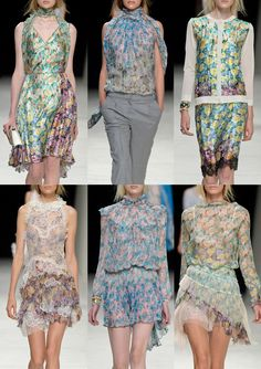 Nina Ricci S/S 2014-Crammed and Clustered Florals – Graduation and Merging of Blooms – Areas of Detail – Outline and Drawn Qualities – Border Pattern Changes – ...