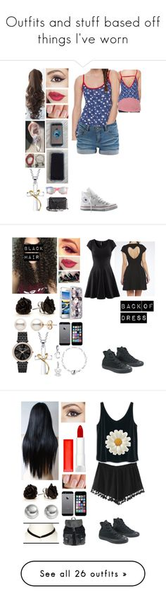 """""""Outfits and stuff based off things I've worn"""" by foxykitty-1 ❤ liked on Polyvore featuring Pieces, Converse, Pin Show, Rebecca Minkoff, BP., Bridge Jewelry, H&M, Bling Jewelry, Thomas Sabo and Michael Kors"""