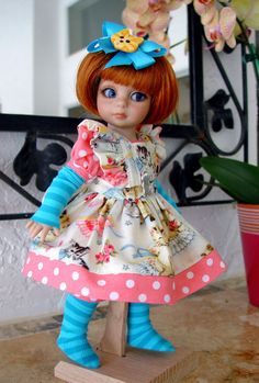 Pinafore fits Tonner Patsy, Ann Estelle, MSD, by  Little Charmers Doll Designs
