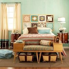 30 Brilliant Ideas For Your Bedroom/ end tables put together t make bench