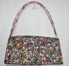 ButtonArtMuseum.com - Boho Hippie Garden S Button Beaded Accent Baguette Shoulder Purse Hand BAG