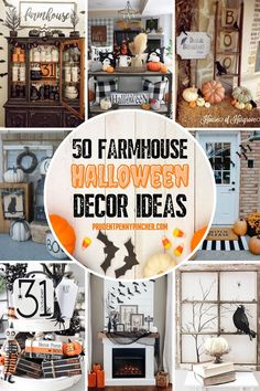 Add a farmhouse touch to your halloween decor with these farmhouse halloween decorations. From farmhouse halloween porches to farmhouse halloween mantels, there are plenty of farmhouse halloween decorating ideas to choose from. There are halloween home decor ideas for modern farmhouses, neutral farmhouses, and vintage farmhouses. There are both indoor and outdoor halloween decorations included here for inspiration. Halloween Entryway, Halloween Living Room, Rustic Halloween, Farmhouse Halloween, Halloween Mantel, Halloween Displays, Halloween Home Decor, Outdoor Halloween, Diy Halloween Decorations
