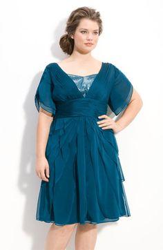 Adrianna Papell Tiered Chiffon Dress (Plus size).