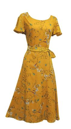 1940s Dress - Cheap Retro WW2 Wartime 1930s 1940s Vintage Style Floral Tea Dress