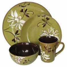 """16-Piece earthenware dinnerware set with a lotus motif. Perfecto    Product: 4 Dinner plates4 Salad plates4 Bowls4 Mugs Construction Material: StonewareColor: Green Dimensions:  Dinner Plate: 10"""" Diameter each Salad Plate: 8.25"""" Diameter each Bowl: 5.5"""" Diameter each Mug: 4"""" Diameter each   Cleaning and Care: Dishwasher safe"""