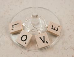 Scrabble Tile Wine Charms set of 4 love wooden favors by KCowie