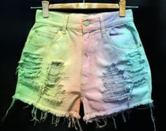 SALE 40% Off Rainbow Painted Dip Tie Dyed Ombre Bleach Woman Dye Denim Studded High Waist Levi Shorts