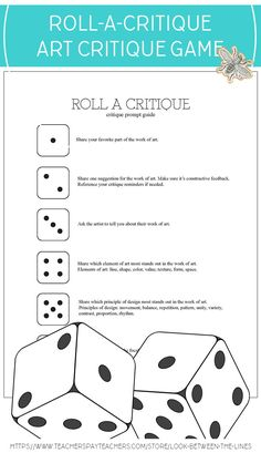 Turn a traditional art critique into a game by rolling-a-critique with this dice based critique game. art education Visual Art Critique Game: Roll A Critique (Individual, Small Group, & All Class) High School Art, Middle School Art, Art Analysis, Critique D'art, Art Handouts, Art Rubric, Art Criticism, Art Worksheets, Art Curriculum