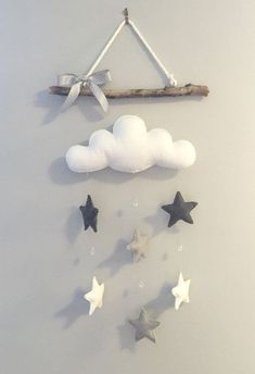 Cloud & Stars Driftwood Mobile The Effective Pictures We Offer You About baby room decor dark wood A quality picture can tell you many things. Baby Crafts, Felt Crafts, Diy And Crafts, Baby Room Decor, Nursery Decor, Driftwood Mobile, Star Mobile, Felt Mobile, Baby Sewing