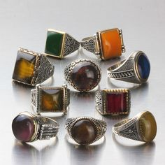 Wholesale Lot 10Pcs 925 K Sterling Silver Mens Rings Natural Amber Gemstone