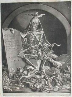 Johan Jakob Rindinger (1713 + 1784) - La mort piétinant les richesses - Gravure