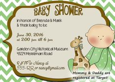 Baby shower invitationgreen and brown chevron baby by OldOwlPress