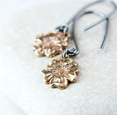 Metal Earrings Mixed Metal Jewelry Oxidized Silver by Hildes
