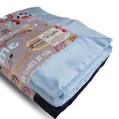 Owl Word Velour Dusk on both sides with Flat Satin Border Blanket